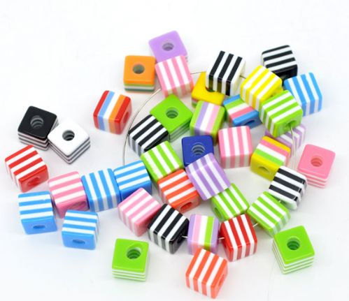 50 Mixed Striped Cube Resin Beads 10x9mm